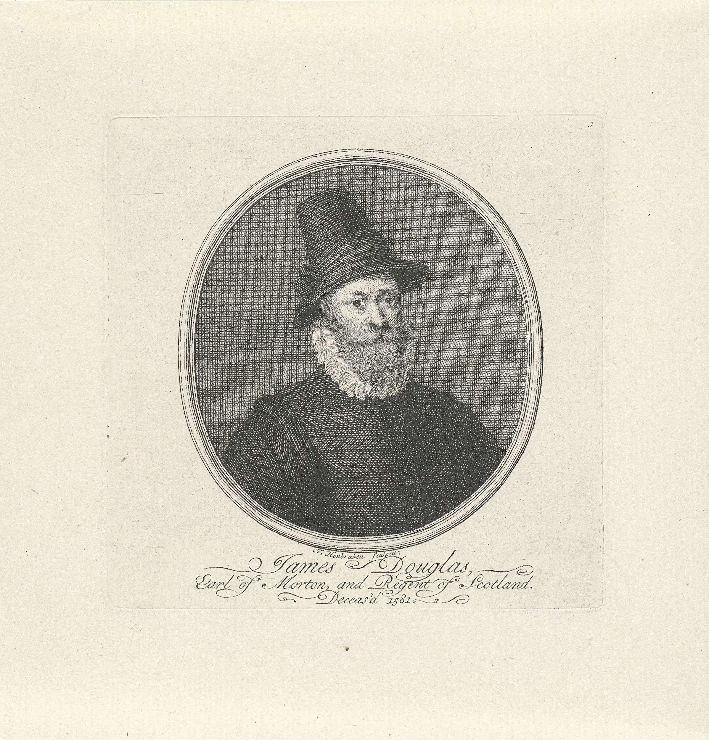 Jacob Houbraken | Portret van James Douglas, Jacob Houbraken, 1708 - 1780 | Buste van James Douglas, 4e graaf van Morton in een ovaal. Onder het portret drie regels in het Engels.