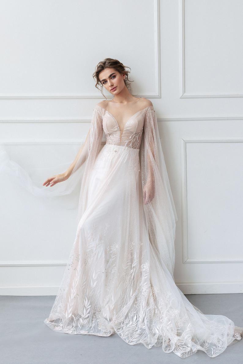 Wedding dress SHERON with V deep neck and long train by Ange Etoiles • A-line wedding dress • – My future wedding