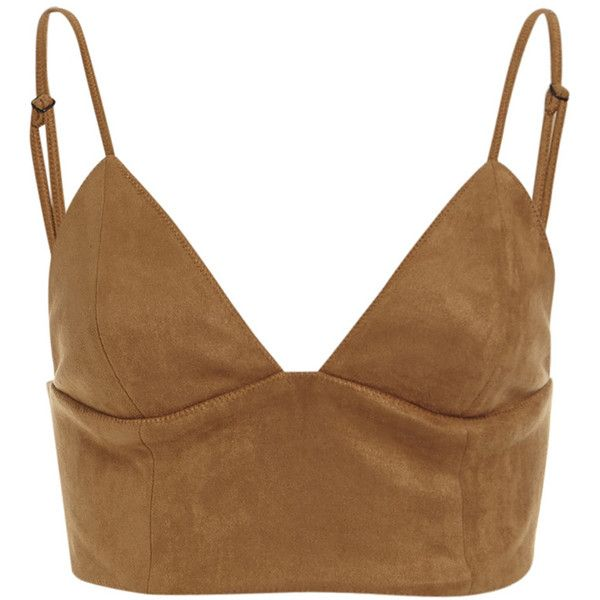 Sueded Bralet (120 BRL) ❤ liked on Polyvore featuring tops, crop tops, shirts, bralet, bralette crop top, brown top, cropped tops, crop shirt and suede top
