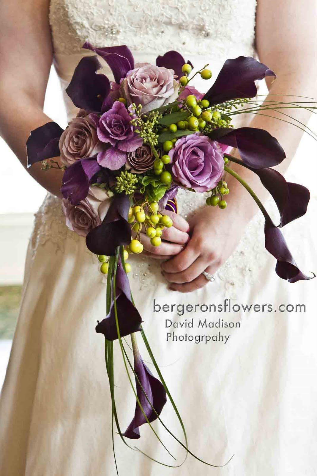 Small Crescent Bouquet Of Purple Callas Violet Kale