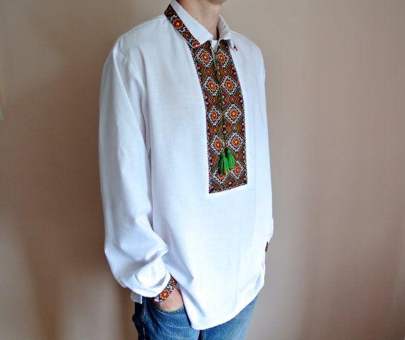 Handmade Vyshyvanka for men Ukrainian embroidery Linen shirt men Made in Ukraine Vyshivanka Vishivanka Ukrainian gift Easter dress shirt 0Jraf