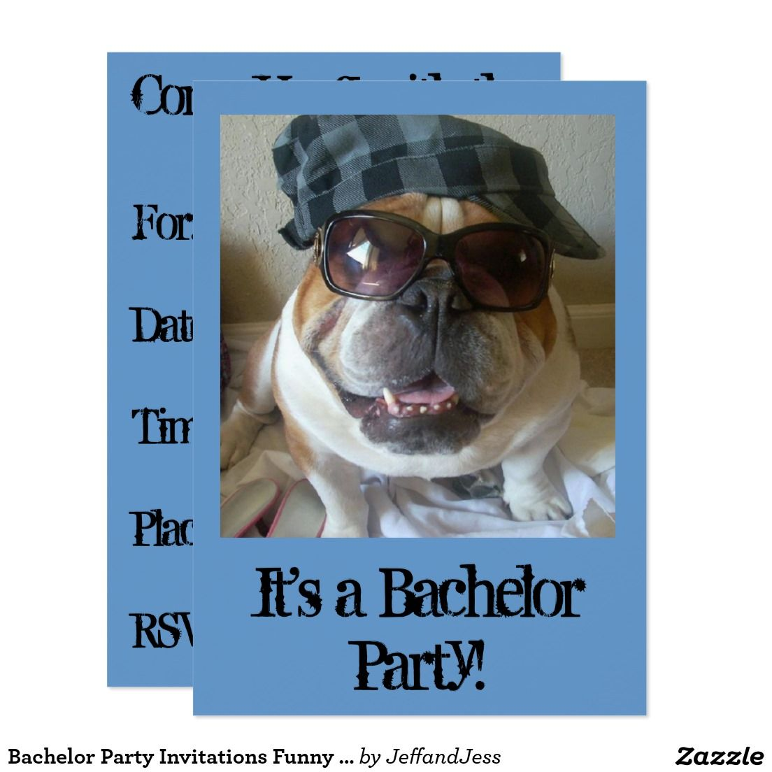 Bachelor Party Invitations Funny English Bulldog | Bachelor Party ...