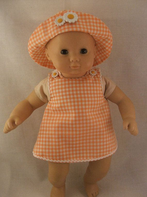 Orange Gingham Sundress with hat and ruffle trimmed panties fits ...