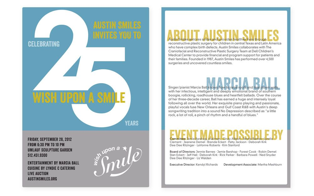 Austin Smiles Event Invitation  Celebrating  Years Design  A