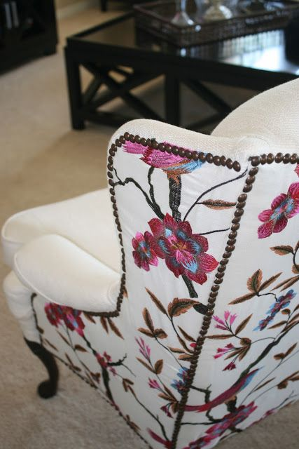 Wingback Chair Upholstery Ideas Transport Chairs Love The Fabric Combo But Tacking Is Lacking P For