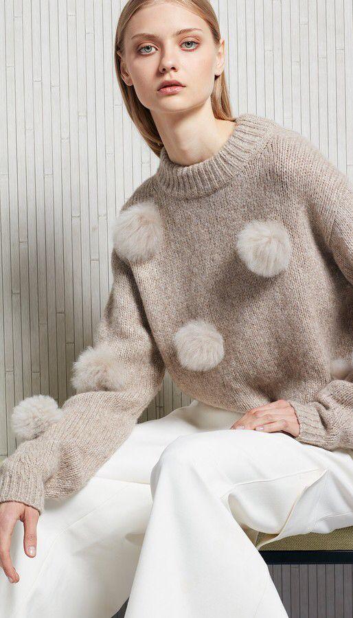 Tibi Pom Pom Sweater Fall Fashion Pinterest