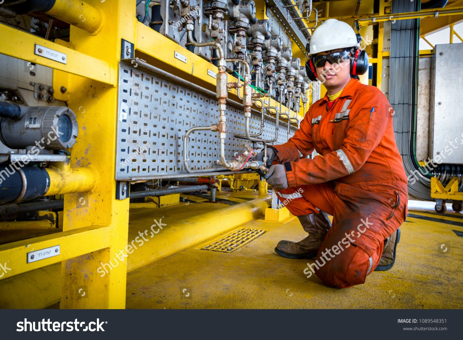 Technicain,Technician during work in process oil and gas