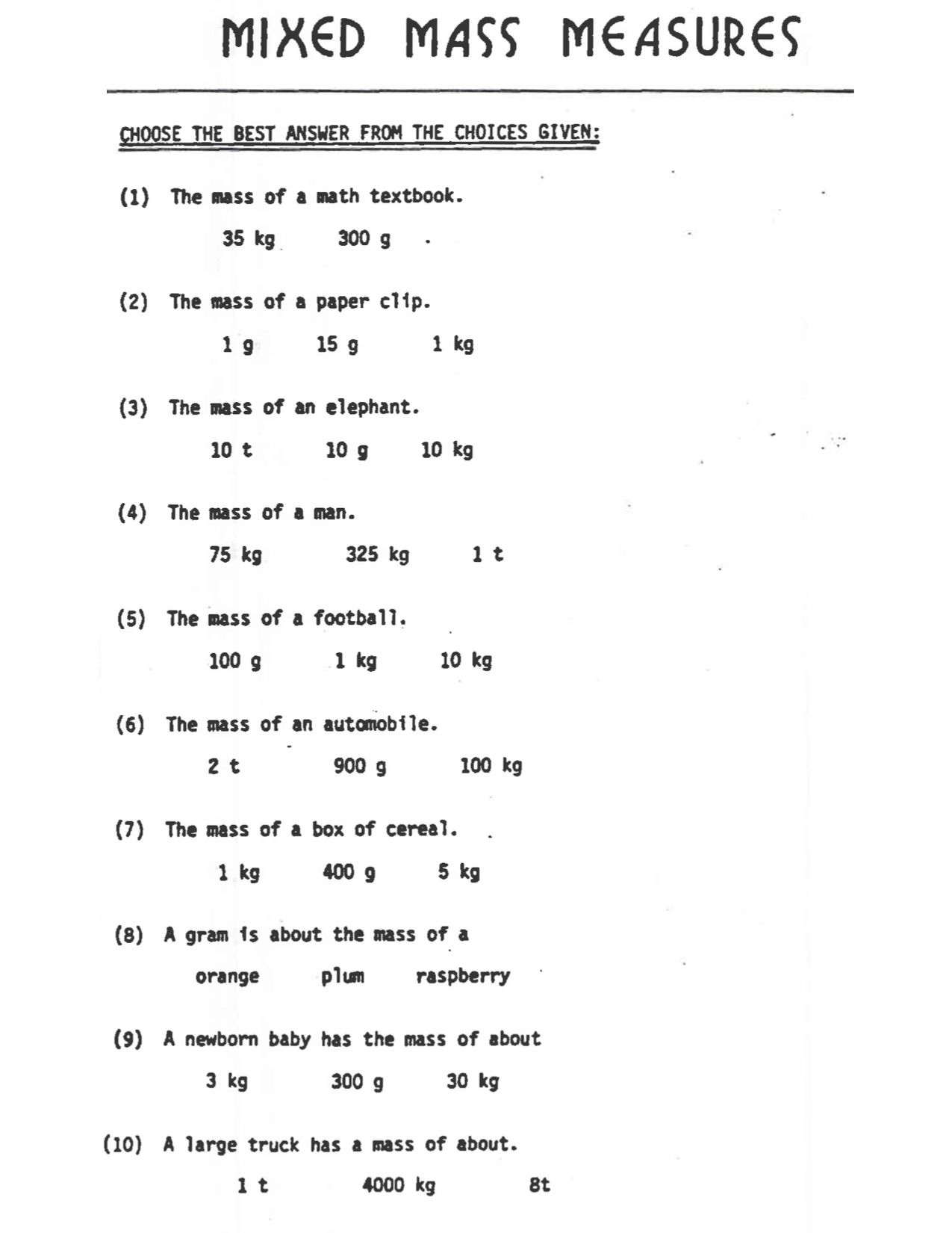 Math Gr4 Measurement Mass Estimate In