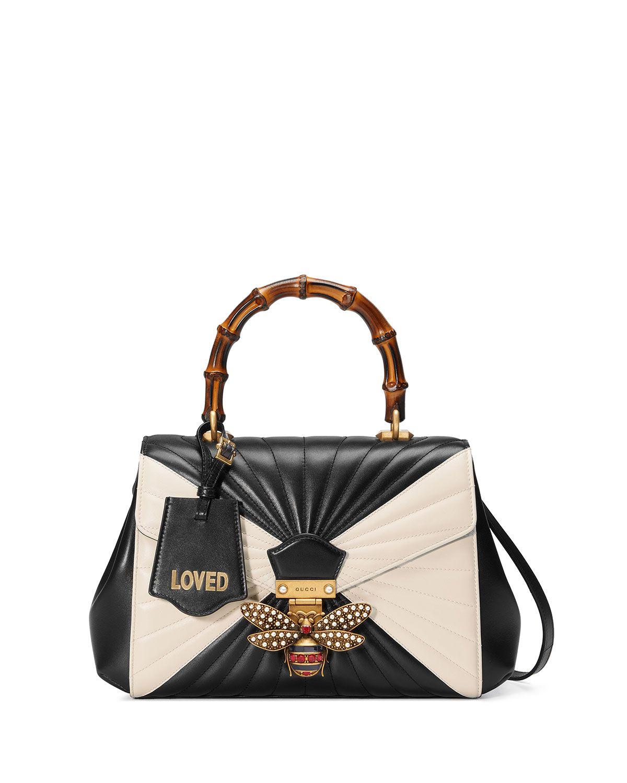 26dcddab00cf Gucci Queen Margaret Linea Medium Bee Bamboo Top-Handle Bag, Black/Multi