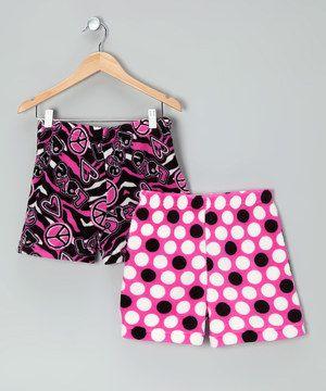 Love this Fancy Girlz Pink Polka Dot Peace Sign Boxers Set - Girls by Fancy Girlz on #zulily! #zulilyfinds