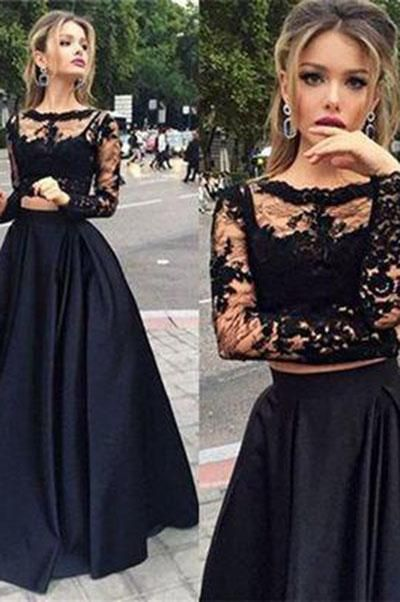 Photo of Black two pieces long sleeve prom dress A-line lace two pieces lo