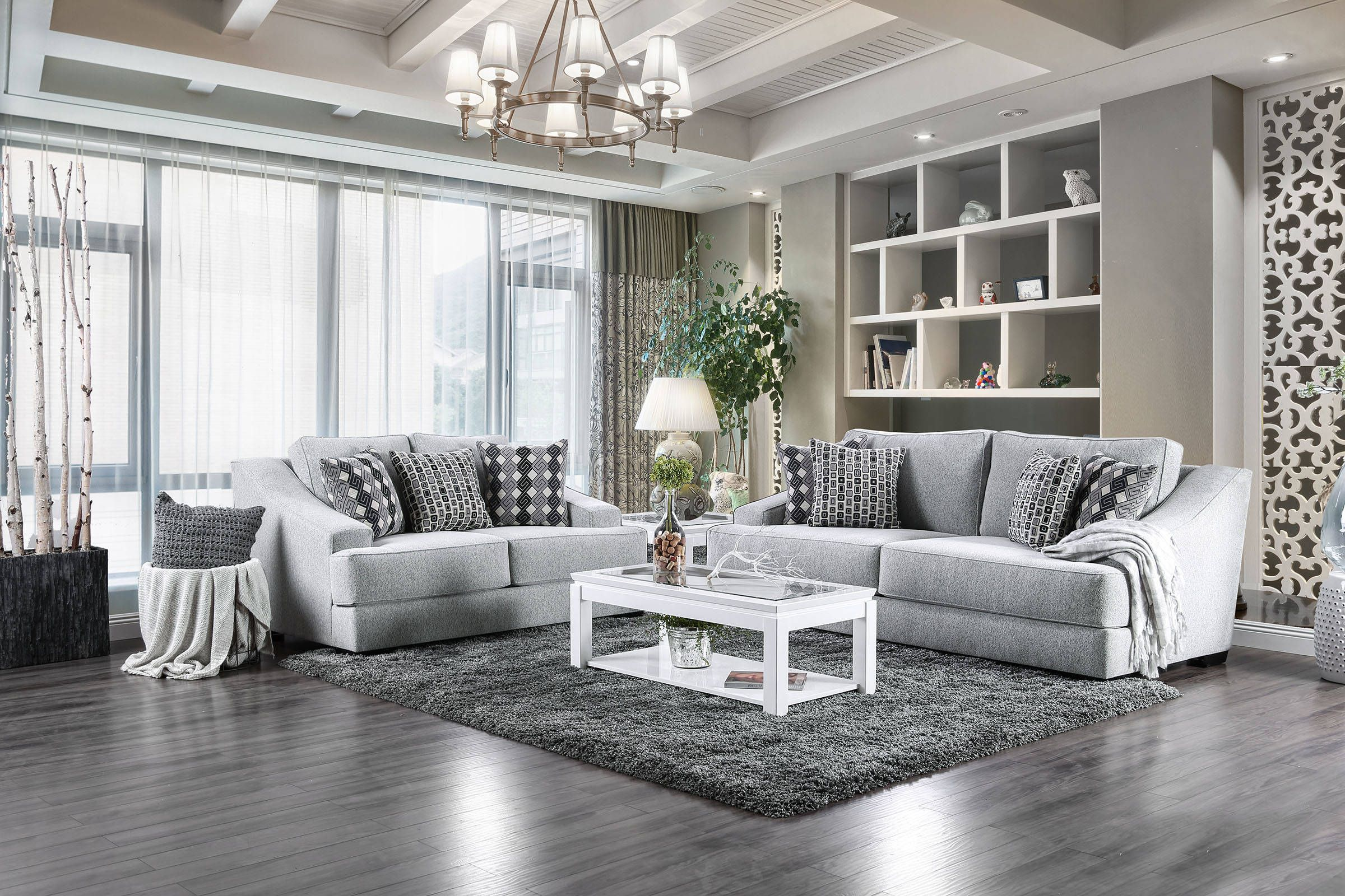 Lesath Contemporary Light Gray Fabric Solid Wood Living Room Set