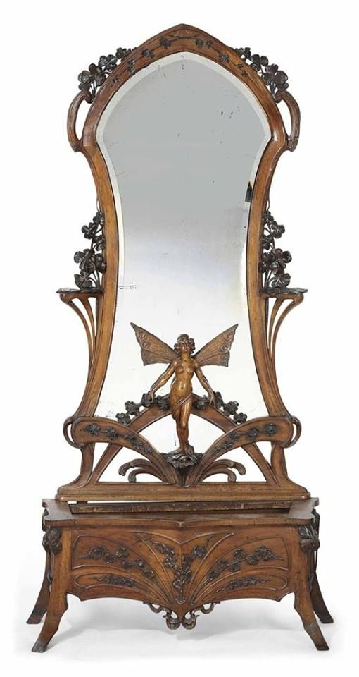 Un estilo Art Nouveau tallado nogal espejo escultural | ART NOUVEAU ...