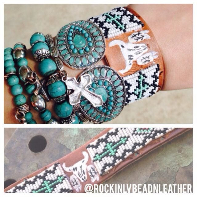 Lovin' this hand-stamped & painted leather cuff with Rockin' LV Bead & Leatherwork's beading on each side! Dress it up with other turquoise jewels for the perfect touch to your gypsy cowgirl style find @rockinlvbeadnleather on Instagram & Facebook for more styles!