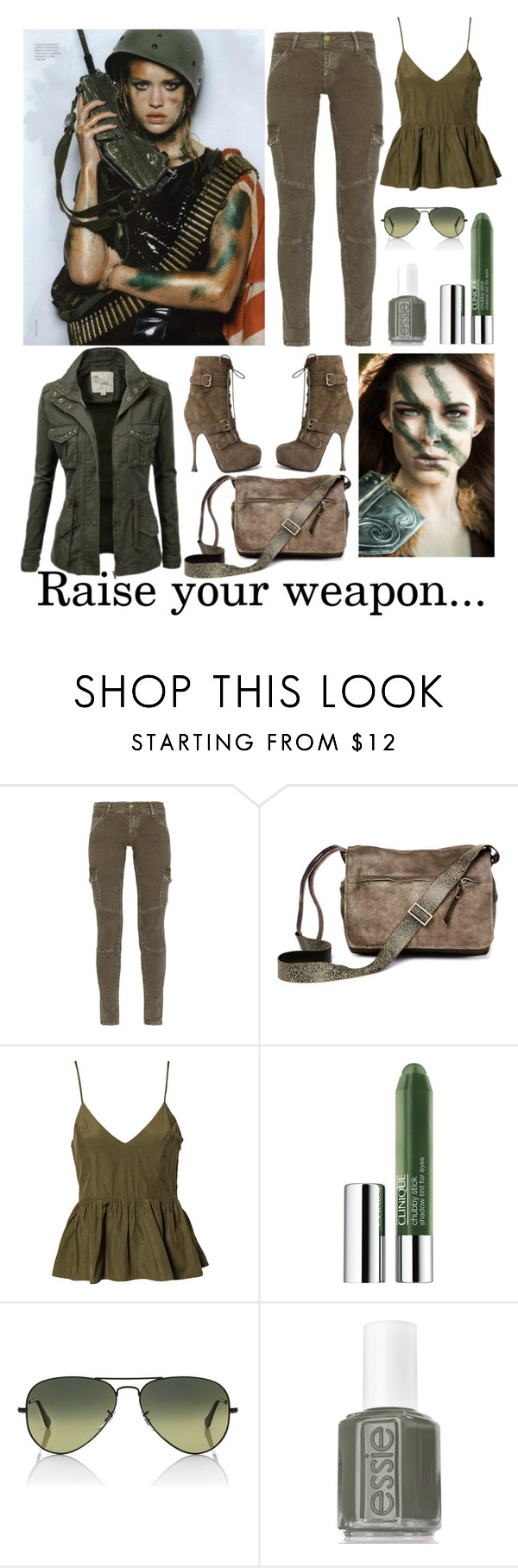 """Raise your weapon"" by cinnamon-swirl-1 ❤ liked on Polyvore featuring Current/Elliott, Ina Kent, NLY Trend, Clinique, Ray-Ban and Essie"