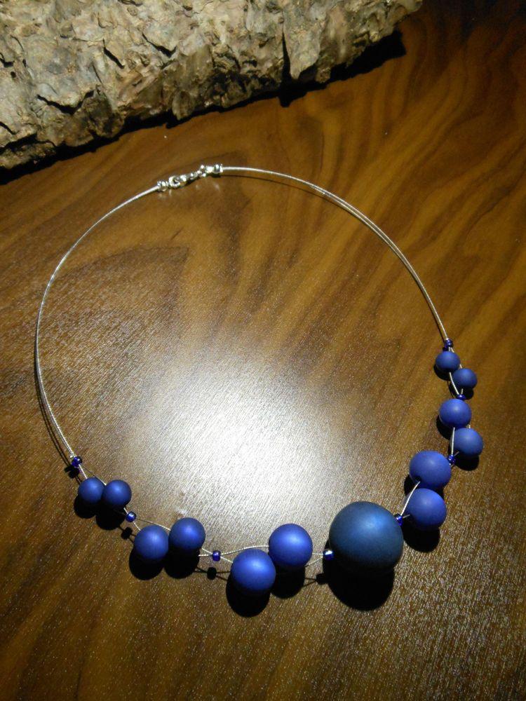 neu unikat blau dunkelblau polariskette halskette collier polaris perlen kette in uhren. Black Bedroom Furniture Sets. Home Design Ideas