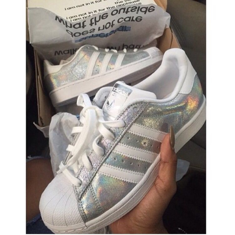 AMAZING Silver and white superstar adidas shoes!!