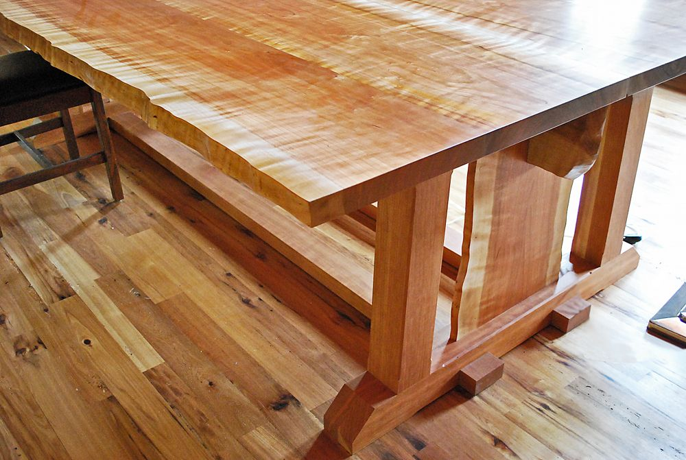 The center plank between the legs of this custom solid cherry newwoodworks live edge fine woodworking craftsman dining tables cincinnati by newwoodworks keyboard keysfo Images