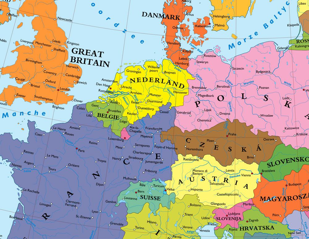 Map of Europe Without Germany | Historical maps, Map, Germany