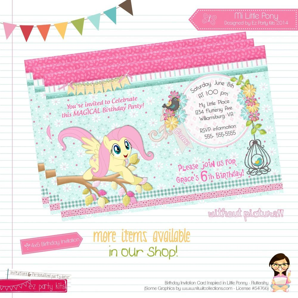 My Little Pony inspired birthday invitation card customize printable