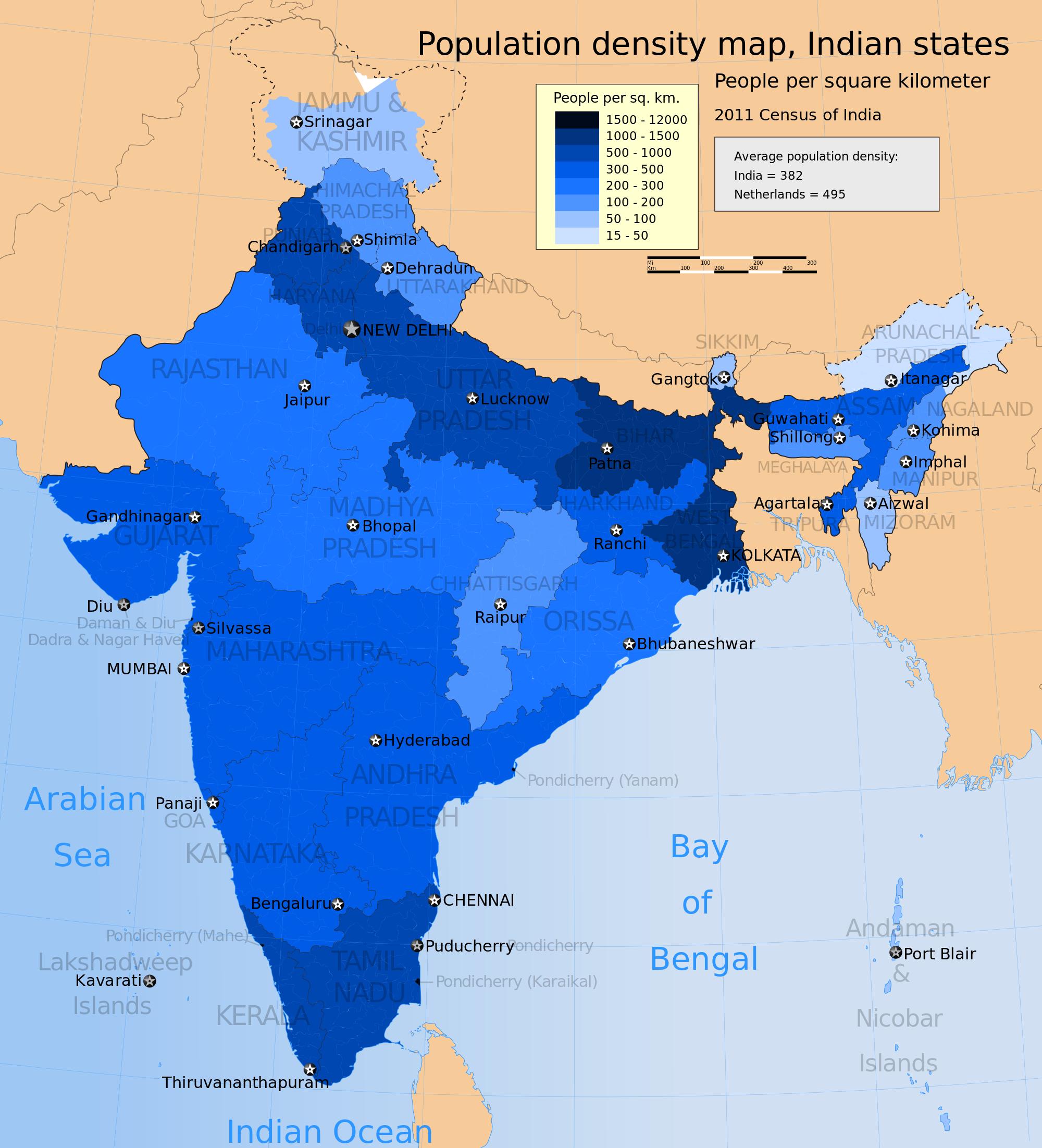 india potion density choropleth map   mapaholic   India map ... on