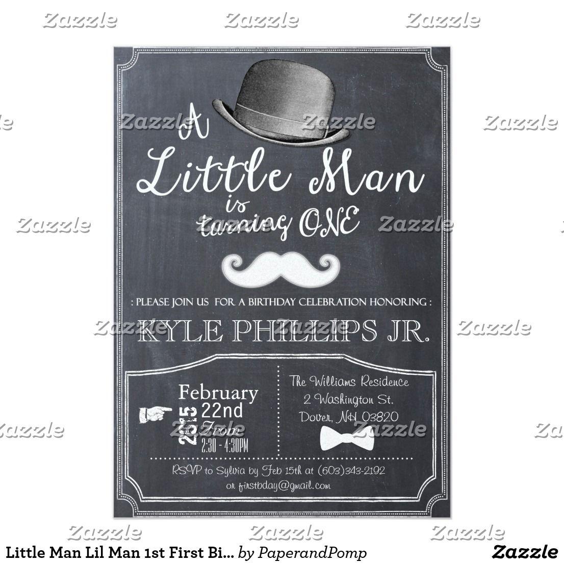 Little Man Lil Man 1st First Birthday Invitation Zazzle Com Lil Man Baby Shower Invitations First Birthday Invitations Little Man Birthday