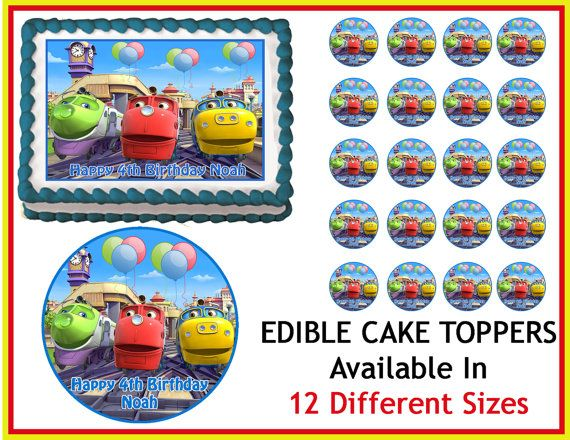 CHUGGINGTON TRAIN Edible Birthday Cake Image Cupcake Topper Quarter