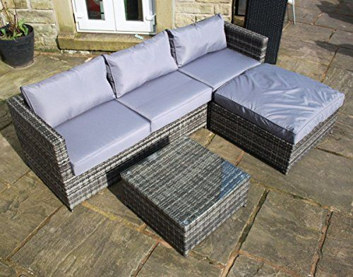 Rattan Garden Furniture Grey Cushions rattan outdoor 4 seat corner sofa patio garden furniture in grey