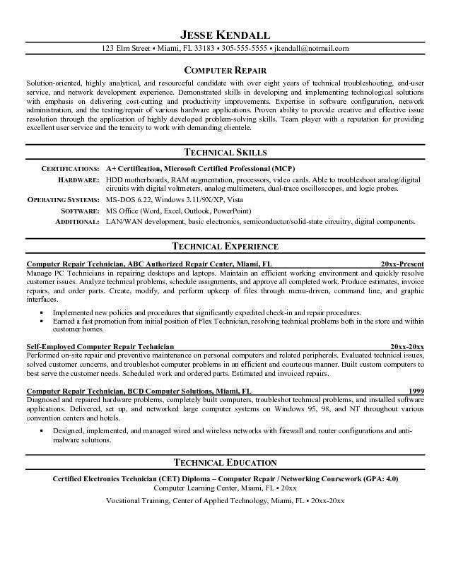 It Repair Sample Resume Self Employed Resume Template  Httpwww.resumecareerself .