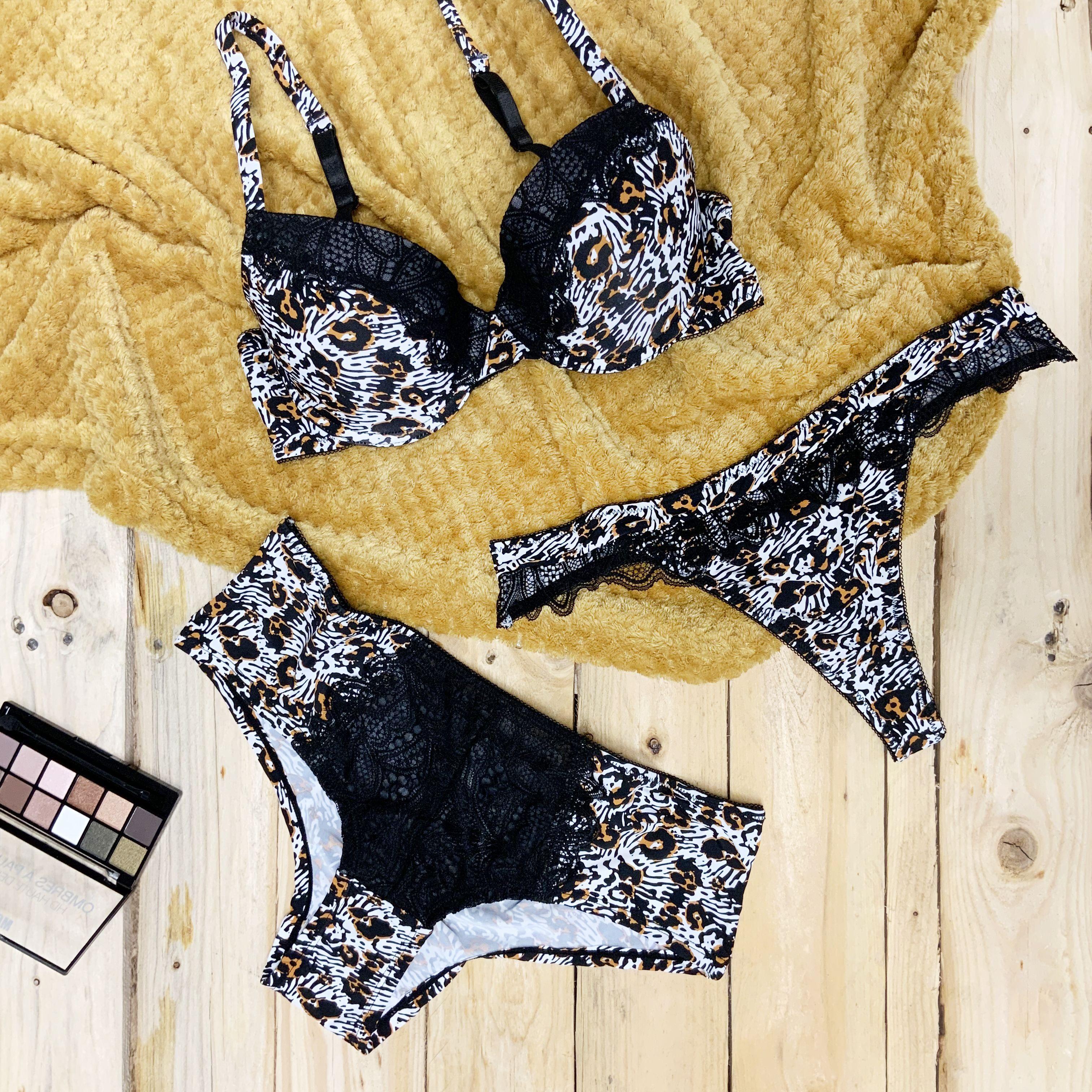 Femme Noir Lingerie Sous-vêtements Culotte Cris Cross Dentelle Floral Boyshorts UK 8 10