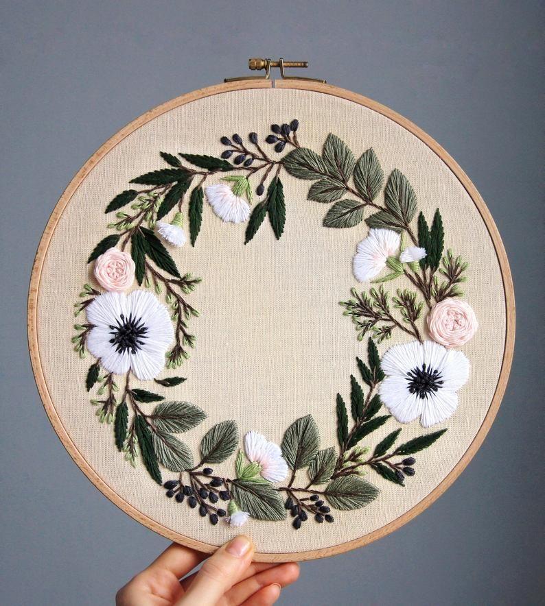 Pdf pattern+ video tutorial. Anemones and eucalyptus floral wreath/ digital tutorial floral diy hand embroidery Digital Download