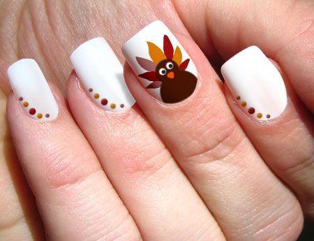 White Nails Polka Dots Turkey Thanksgiving Nail Art - Creative Thanksgiving Nail Art Design Ideas Nail Polka Dots