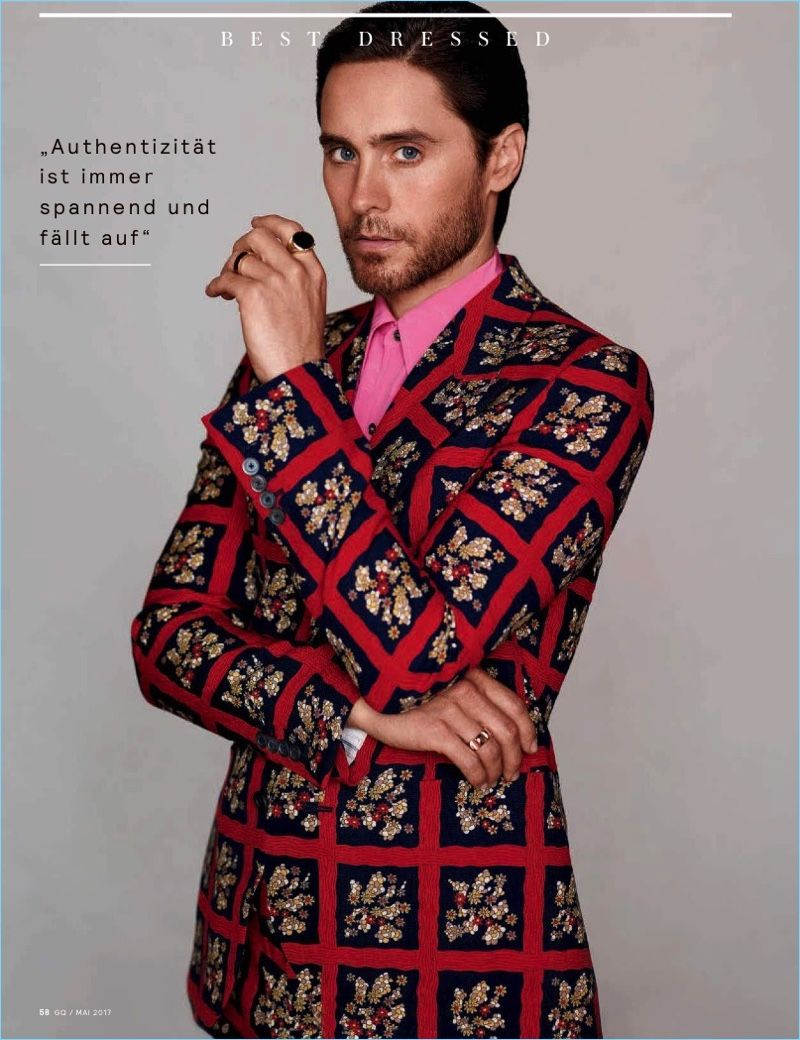 jared leto gq germany may 2017 cover photo shoot | red suit