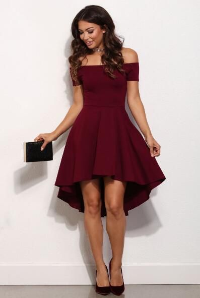 Off The Shouler Prom Dress Burgundy Party Dresses Hi Low Short Homecoming Evening