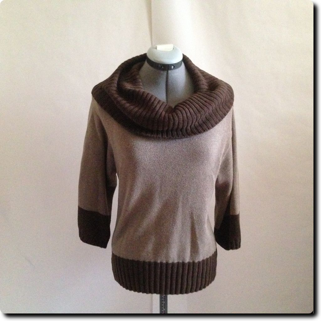 Pria 2 Toned Cotton Brown Cowl Neck Sweater with Wide Sleeves ...