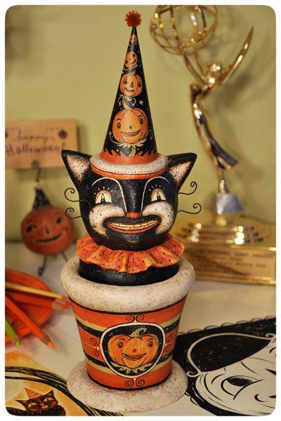 Original folk art cat candy container for Halloween by Johanna Parker