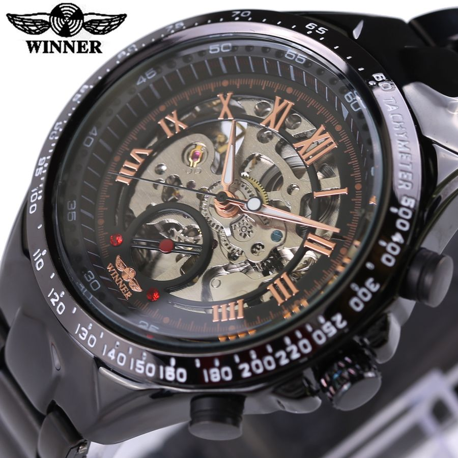 c4c0590762e 2016 WINNER Luxury Brand Watches Men Automatic self-wind Fashion Casual Male  Sports Watch Full Steel Gold Skeleton Wristwatches