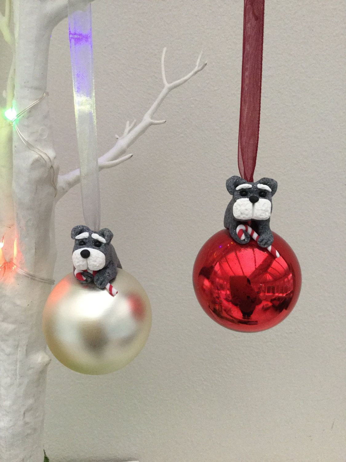 Schnauzer Christmas Bauble Pair Glass Ball With Little