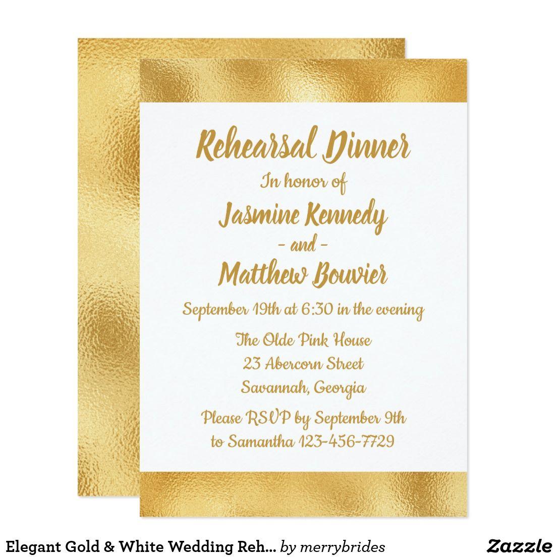 Elegant Gold & White Wedding Rehearsal Dinner Glam Card | Rehearsal ...