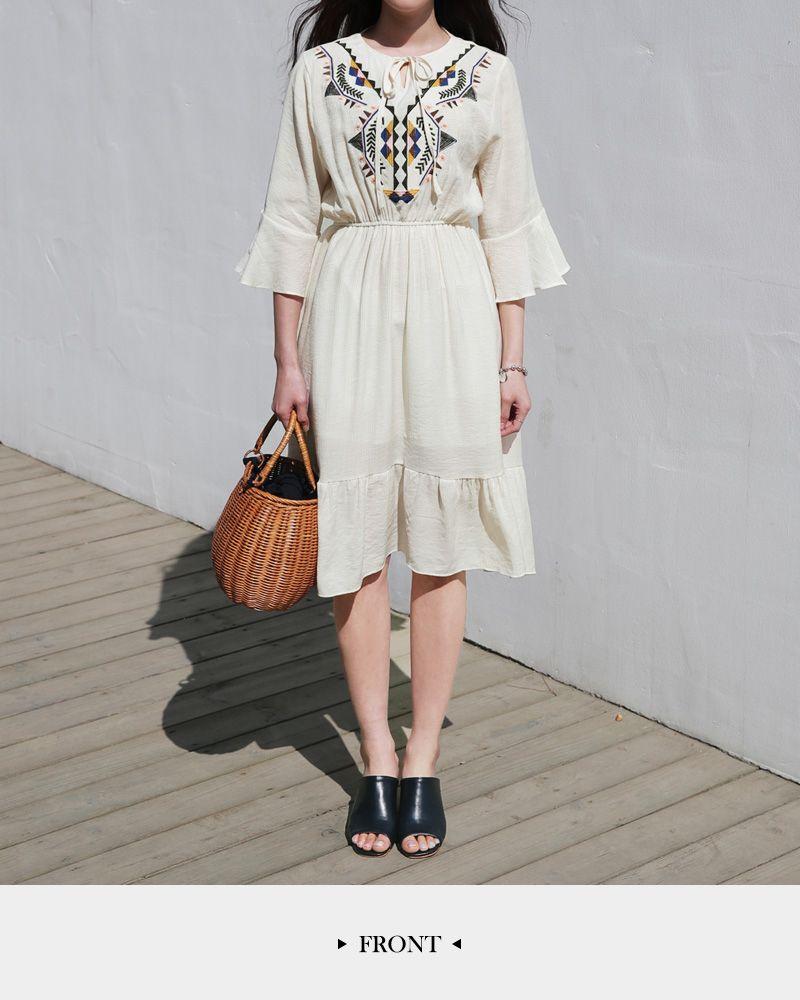 9fde35f5801 エスニック刺繍ウエストマークワンピース・全2色ドレス・ワンピ レディースファッション通販