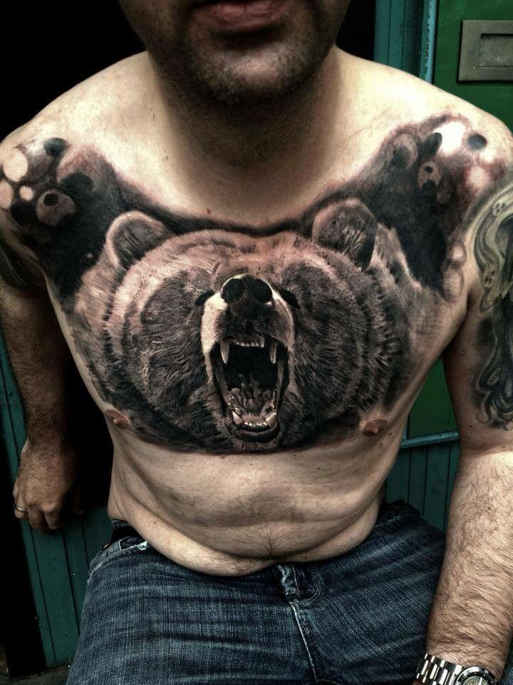Ours Torse Ink Tattoo Tatouage Encre Et Toile Peinture
