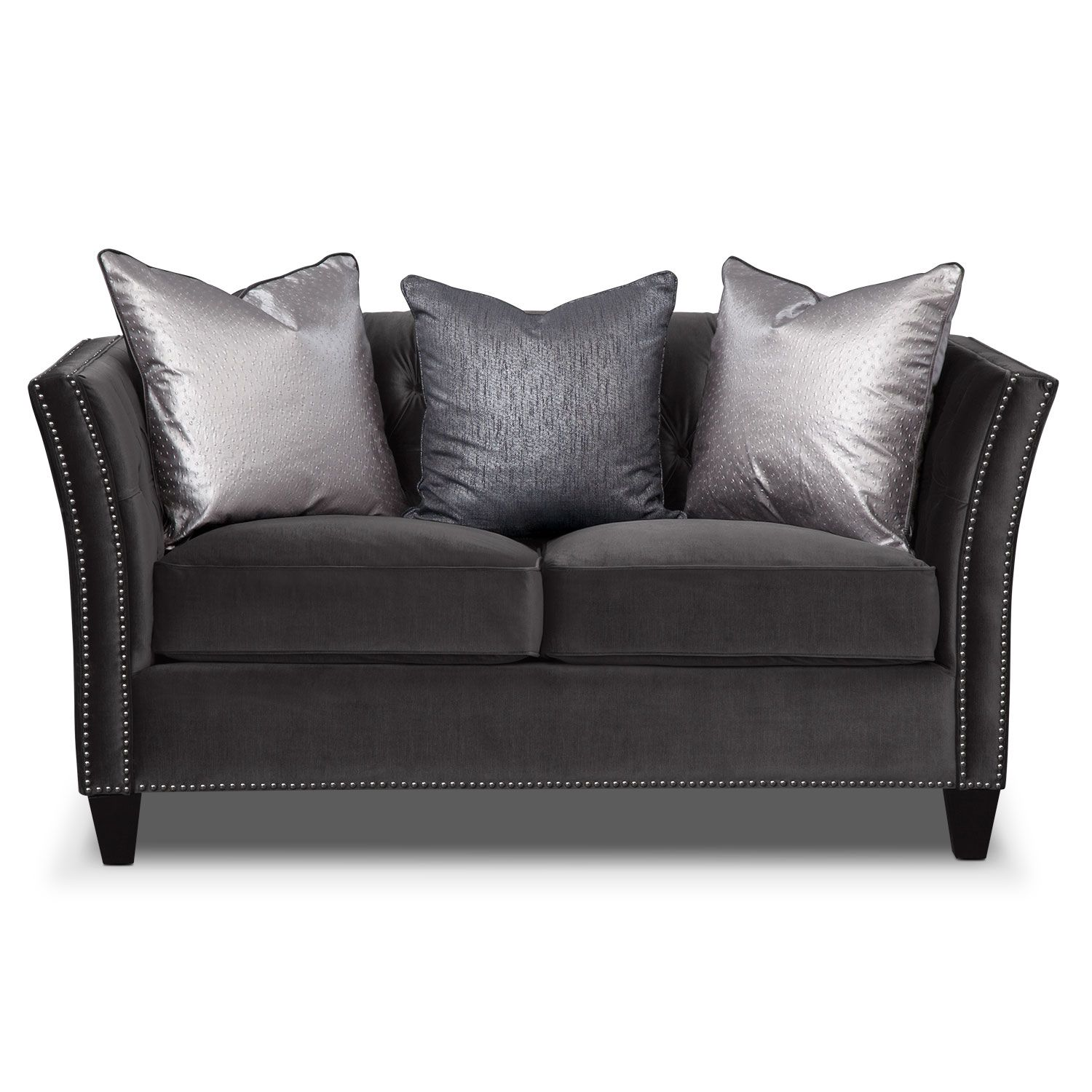 Brilliant Nicole Charcoal Loveseat Value City Furniture Living Ocoug Best Dining Table And Chair Ideas Images Ocougorg