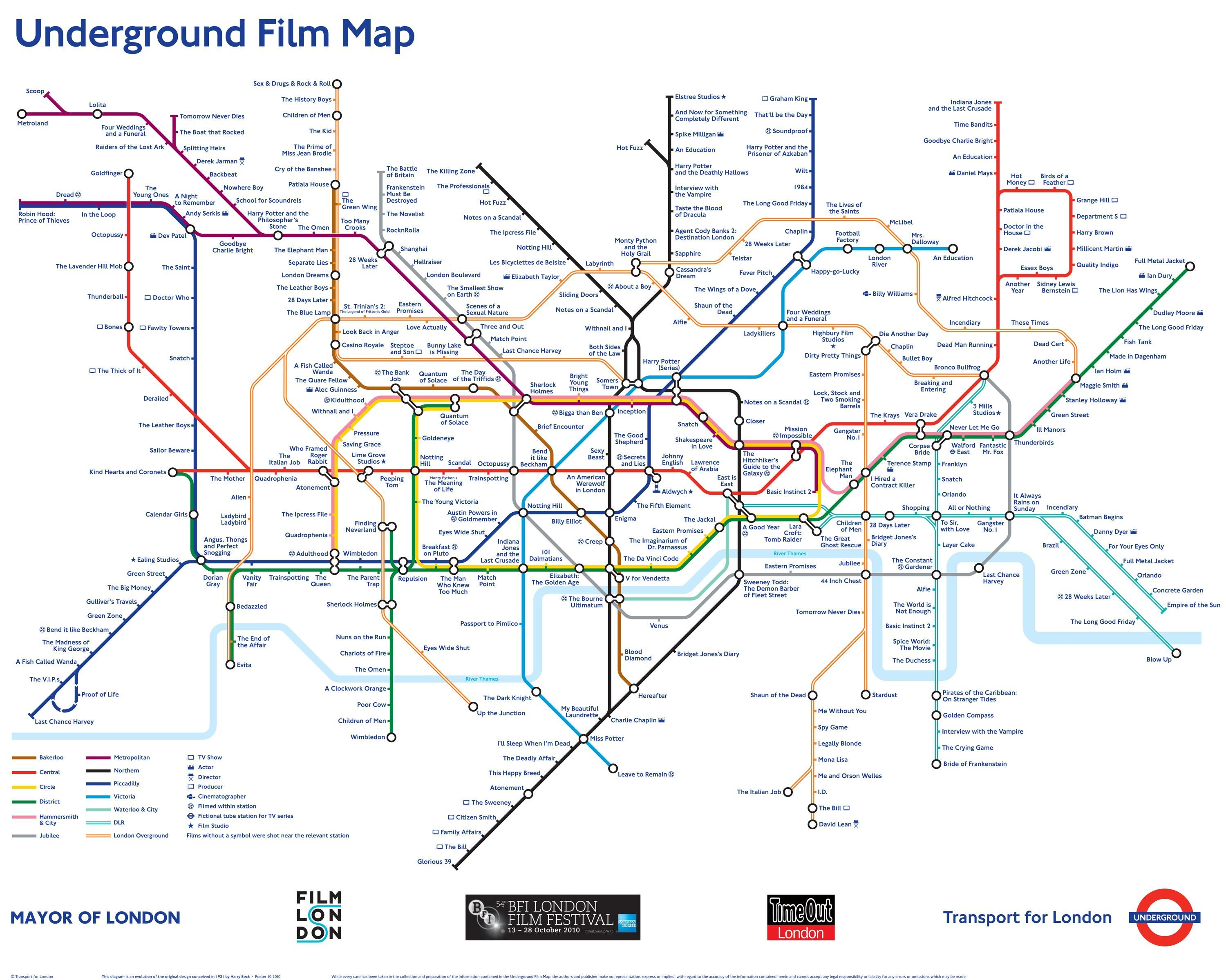 The underground film map is a unique reinterpretation of the the london underground tube map poster is a design classic and the basis of many metro maps around the world available to buy at london transport museum gumiabroncs Gallery