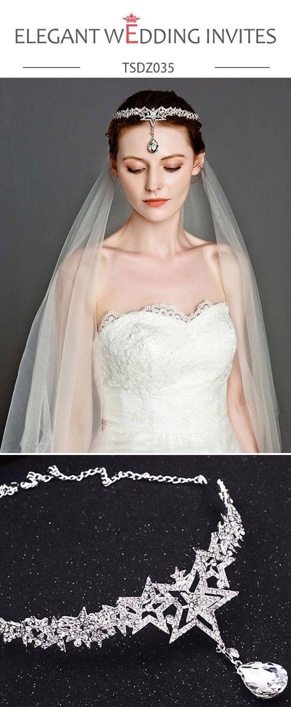 Wedding headwear set silver forehead bridal and one tier soft sheer