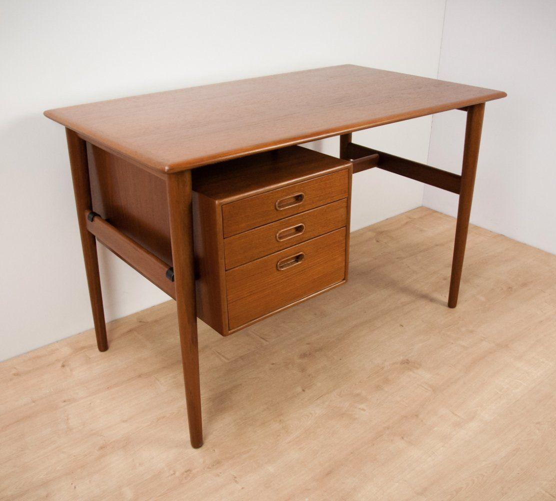 For Sale Mid Century Danish Teak Desk 1960s Met Afbeeldingen