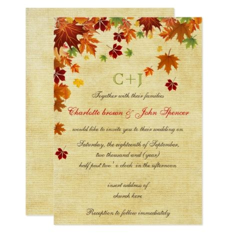 Fall Leaves Rustic Wedding Invitation Zazzle Com Wedding Invitations Rustic Wedding Invitation Design Rustic Rustic Wedding Cards