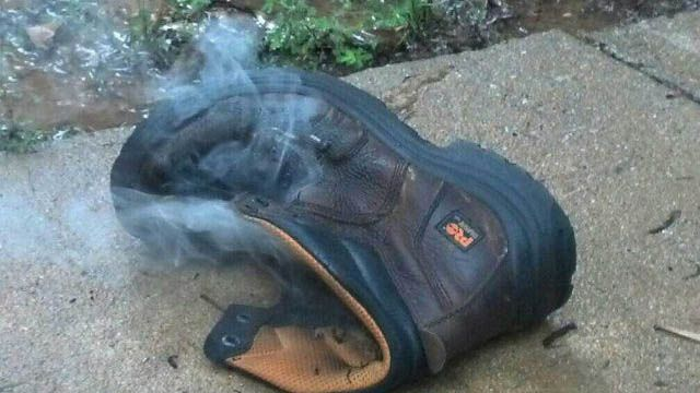 Man survives after lightning strike blows him out of his shoes