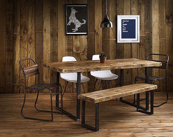 Delightful Vintage Industrial Rustic Reclaimed Plank Top Dining Table U Frame Steel  Base (Handmade UK
