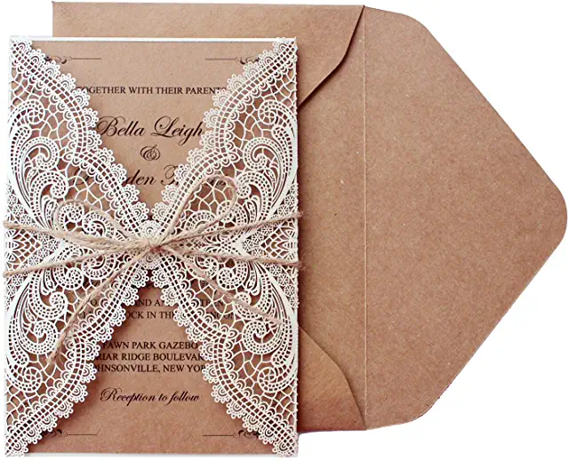 Amazon Com Wedding Invitations Lace Wedding Invitations Wedding Invitation Kits Bridal Shower Invitation Cards