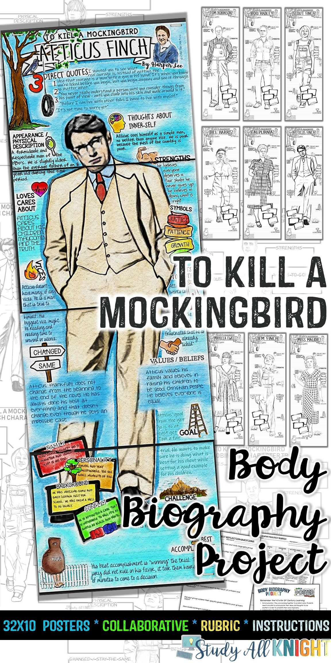 To Kill A Mockingbird Body Biography Project Bundle Great For